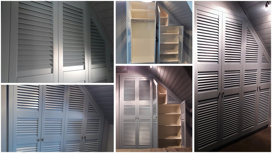 Шкаф с жалюзийными дверцами в мансарду